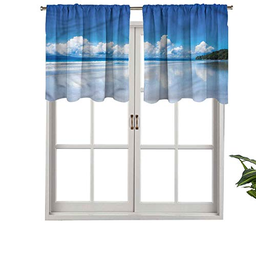 Hiiiman Window Treatment Rod Pocket Blackout Curtain Valance Tropical Beach Paradise, Set of 2, 54'x24' for Living Room, Short Straight Drape