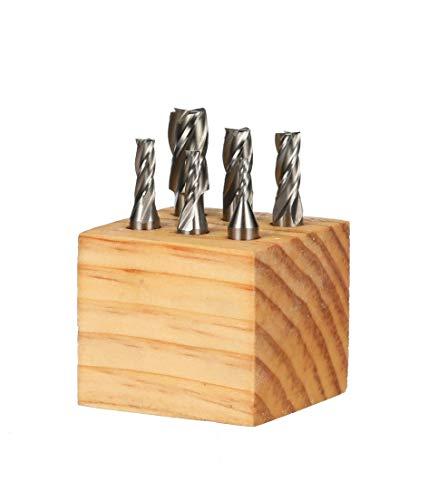 HHIP 8000-0002 4 Flute High Speed Steel End Mill Set, 6 Piece, 3/8' Shank