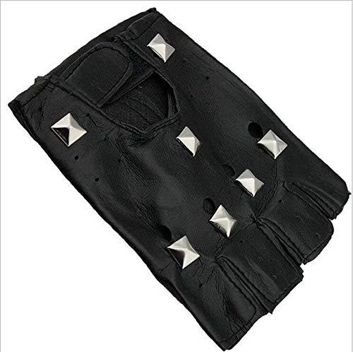 LLLKKK Guantes negros para adultos, guantes de medio dedo, guantes negros para fitness, sin clavos, 1, clavos cuadrados, 1