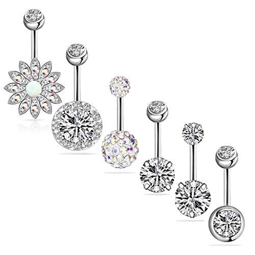 MiK 6Pcs 14G 316L Stainless Steel Flower Belly Button Ring Navel Piercing Barbell CZ Stone Inlay Body Piercing Jewelry