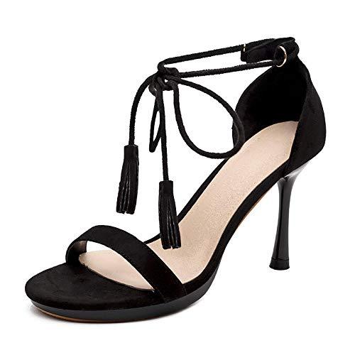 QFYD FDEYL Plataforma Punta Abierta para Mujeres,Tacones de Aguja, Sandalias sexys con Tiras Negras_39,Mujer Plataforma Peep Toe