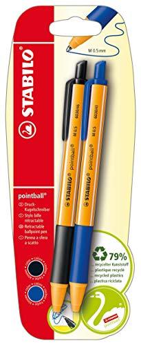 STABILO - Bolígrafo de punta redonda, color Azul y negro 2er Pack