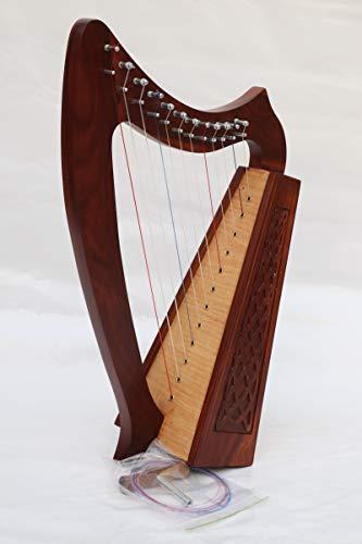 12 Strings Solid Wood Celtic Irish Rose Harp