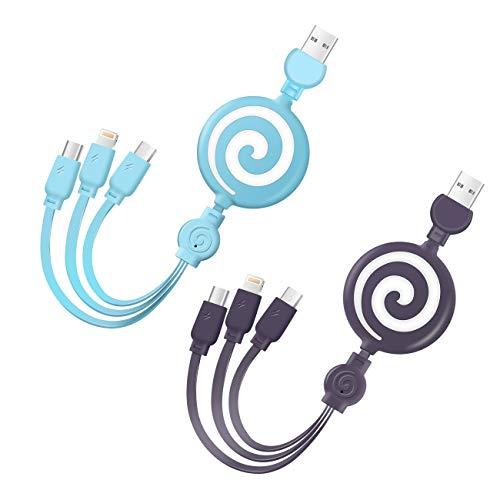 LAMA Cable de Carga múltiple, [2 Paquetes de 3.3 pies] Cable de Carga retráctil Cables de Cargador USB 3 en 1 con Conector Tipo C/Micro USB/iluminación para Samsung Huawei Google HTC Pad