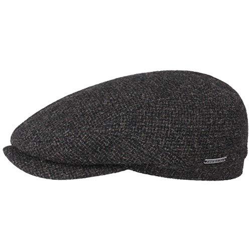 Stetson Belfast Tweed Flatcap - Schiebermütze Herren - Schirmmütze aus Wolle - Wintercap mit Baumwollinnenfutter - Wollcap Herbst/Winter - Herrenkappe schwarz 58 cm