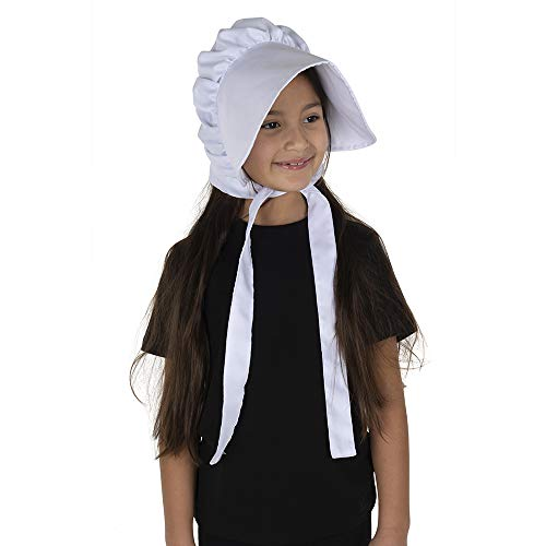 Dress Up America Deluxe Pioneer White for Girls-Product Comes Complete with Polyester Bonnet Desgaste de la Cabeza, One Size