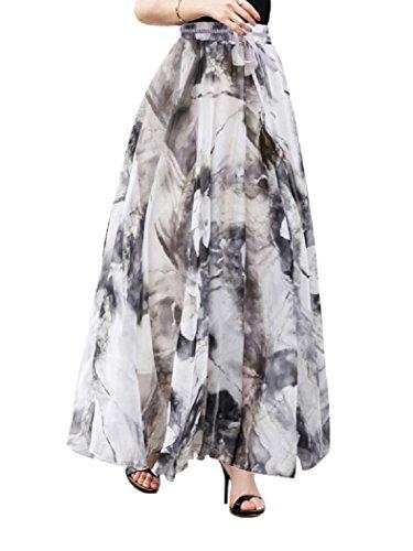 DEBAIJIA Falda Larga Mujer Maxi Bohemia Playa Vacaciones Gasa con Estampado Floral Talla Grande Cintura Elástica Gris - M