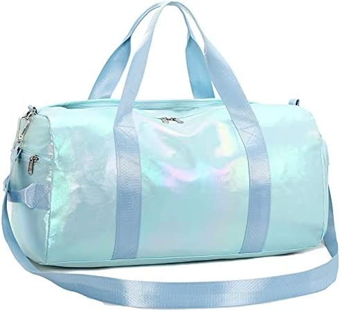 Gym Bag Sports Duffle Bag with Wet Pocket Weekender Overnight Bag with Waterproof Shoe Pouch and Air Hole for Women Girls Travel Foldable Bag