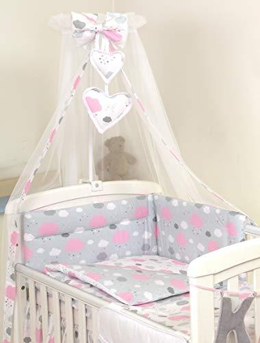10 Piezas Juego de Ropa de Cama para Cuna 120 x 60 cm Bebé Edredón Dosel Protector Nubes Rosadas