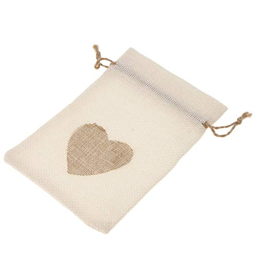 SDENSHI 10 Bolsas de Arpillera de Corazón con Bolsas de Regalo con Cordón para Manualidades de Bricolaje para Bodas - Beige