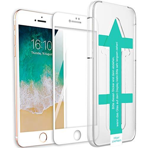 XeloTech 3D/4D Fullcover Panzerglas kompatibel mit iPhone 8/7 mit Schablone für perfekte Positionierung - Schützt komplettes Display - Full Cover Vollglas (Weiss)