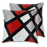 Art Fan-Design Juego de 2 fundas de cojín geométricas, color rojo, gris, negro, blanco, cuadrado, para sofá, silla, sofá, dormitorio, decoración