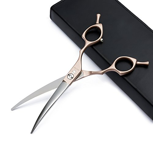 """Smith Chu Professional Pet Grooming Scissors Set-Twin Tails Hair Cutting Thinning Chunker Curved Shear for Dog Cat with Comb-Best Tools for Trimming,6.5"""" Rose Gold Finish (Curved Scissors)"""