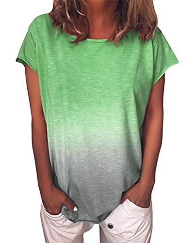 Yidarton T-Shirt Damen Kurzarm Sommer Casual Farbverlauf Tops Lose Tees Shirts Rundhals Oberteil(Grün,2XL)