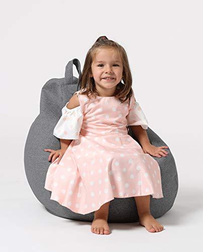 Xoft Living Sitzsack mit Lehne - für Kinder - Bequemer Bean Bag mit Rückenlehne als Sitzkissen & Sessel mit Füllung - Reißverschluss zum Befüllen - Anthrazit