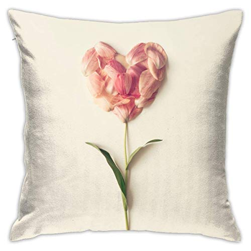 Flower in Shape of A Heart Decorative Throw Pillow Cover Hidden Zipper Closure Cushion Case for Home Sofa Bedroom Car Chair House Party Indoor Outdoor 18 X 18 Inch 45 X 45 cm