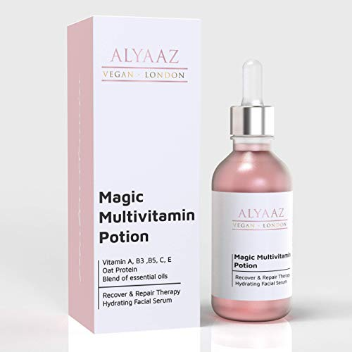 Alyaaz Vegan Anti-Aging Multivitamin Face Serum with Oat Protein, Vitamin A, B3, B5 C, E, Recovery & Repair Skin Therapy, Hydrating, Brightening & Moisturing Facial Serum 30ml