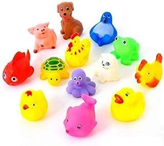 13PCS Cute Soft Rubber Float Sound FEITONG Kids Wash Bath Play Random Animals Color Cartoon Toys