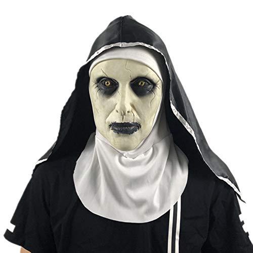 Sxgyubt Máscara de la monja de Halloween para fiesta de Halloween The Conjuring Valak, máscaras de látex con pañuelo para la cabeza jugando divertido decoración de fiesta de Halloween