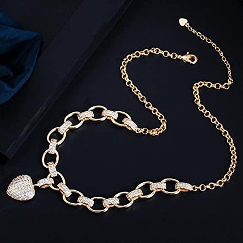 SYXMSM Juego de Joyas Color De Oro Cubic Circonia Cuelga Amor Corazón Forma Encanto Pulsera Collar Colgante Mujer Traje Conjunto De Joyas joyería (Metal Color : 1 Necklace)