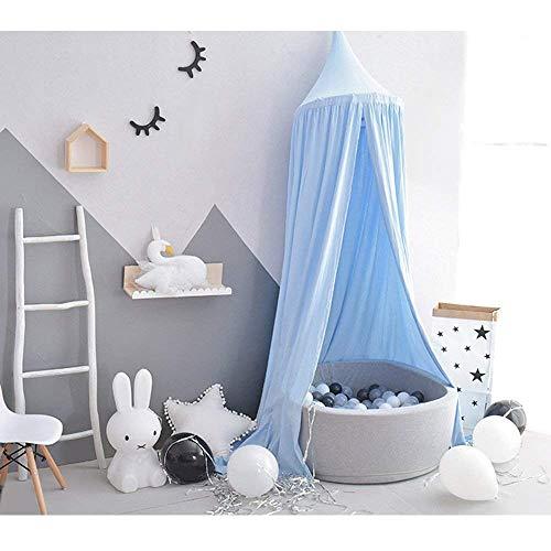 Tyhbelle Baby Baldachin Betthimmel Kinder Babys Bett Baumwolle Hängende Moskiton für Schlafzimmer Ankleidezimmer Spiel Lesen Zeit Höhe 230 cm Saumlänge 270cm (Blau)