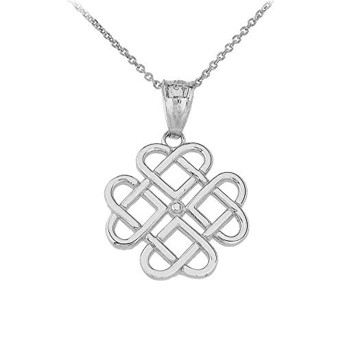 Elegant 10k White Gold Endless Celtic Knot Heart Infinity Pendant Necklace, 16'