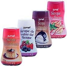 Pack de 4 unidades de Sirope JUMEL botella 275g. (1,93 €/botella) sin gluten multisabor fresa, caramelo, chocolate y frutas del bosque. Formato antigoteo.