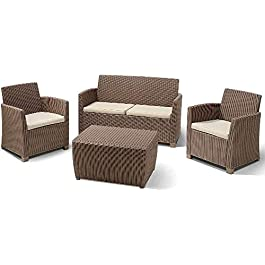 ALLIBERT 212405 Corona Salon de Jardin en Plastique Imitation rotin avec 2 fauteuils, 1 canapé, 1 Table Cappuccino