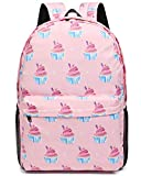 Oflamn Froral Backpack Pink Cupcakes Backpack | Bookbag | Daypack | Fit in 15' Laptop and Multi-pockets with YKK zippers | Super Light Waterproof Nylon | Perfect for Work, Commute, Travel & College