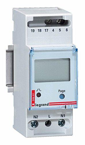 Legrand 004681 Compteur Modulaire Monophasé EMDX³ Non MID Raccordement Direct avec Sortie à Impulsions, 36A, 2 Modules, Gris Clair