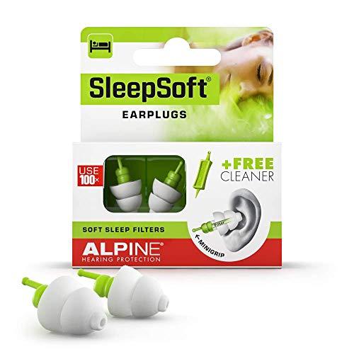 Alpine SleepSoft Ohrstöpsel - Blockiert Schnarchen und verbessert den Schlaf - Soft-Filter zum Schlafen – Bequemes, hypoallergenes Material – Wiederverwendbare Ohrstöpsel