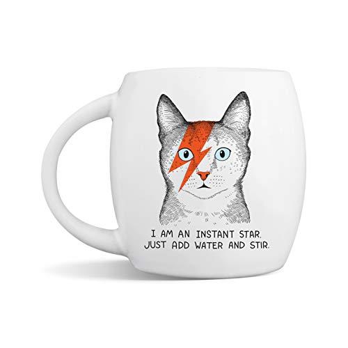 Ziggy Stardust Kitty David Bowie Cat Cute Coffee Tea Mug - I Am an Instant Star Just Add Water and Stir - 15 oz Premium Ceramic Mug with Gift Box - Microwave & Dishwasher-Safe