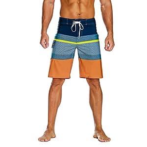 unitop Men's Bathing Board Trunks Beach Shorts Holiday Hawaiian Colorful Striped