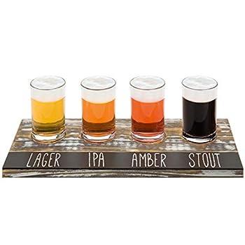 MyGift Rustic Torched Wood Craft Beer Flight Sampler Tray Serving Set with 4 Glasses & Chalkboard Panel