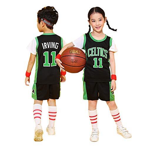 Camiseta de baloncesto para niños, diseño de Celtics Irving #11, unisex juvenil sin mangas y pantalones cortos deportivos de 2 piezas, 123, 123, color negro, tamaño L