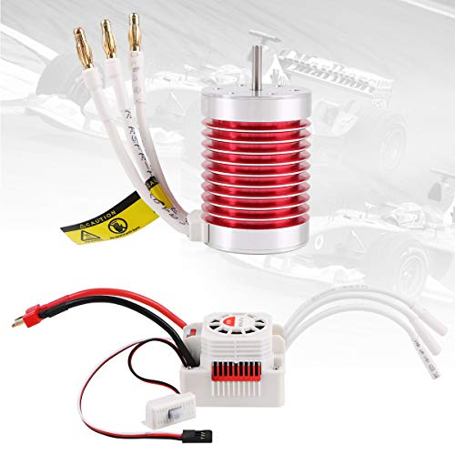 Crazepony-UK F540 4370KV Brushless Motor 4 Pole with 60A ESC Electric Speed Controller Waterproof Combo Set 3.175mm Shaft for 1/10 RC Car Flat Drifting Car 2S Lipo Battery