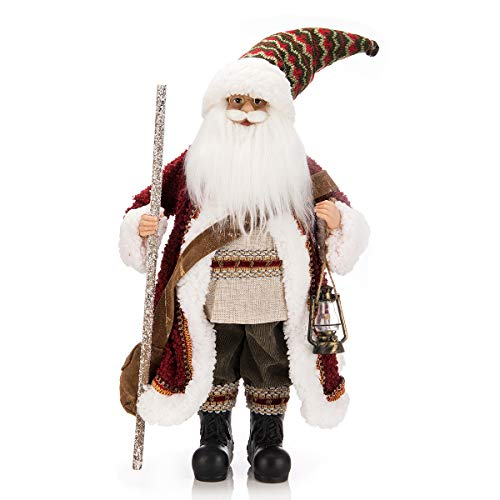 ARCCI Santa Claus Christmas Figurine, 18 Inch Standing Red Suit Santa Figure Xmas Holiday Decoration