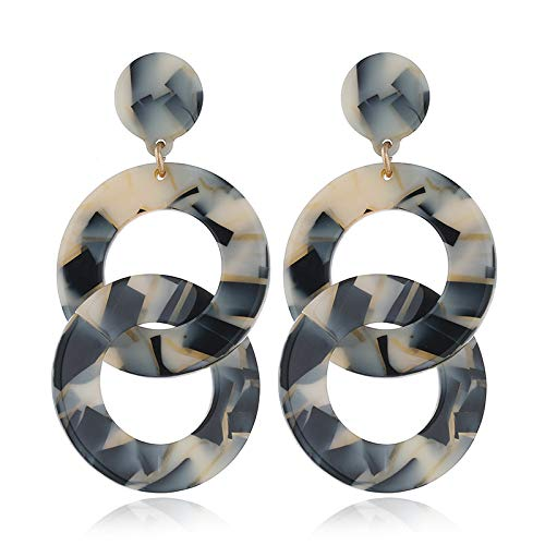 SDRFSWE Women'S Geometric Double-Ring Round Earrings, Stylish Long Acrylic Earrings/For Birthdays, Festivals, Special Occasions,Champagnecolor