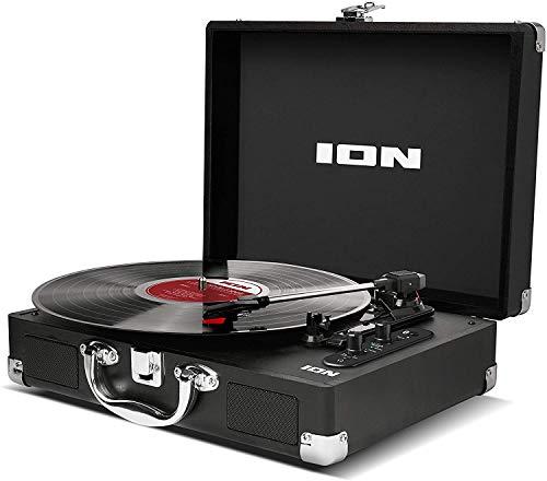 ION Audio Vinyl Motion Air - Giradischi Valigetta Portatile con Casse Bluetooth, Batteria Ricaricabile, Conversione Audio USB e Tre Velocità