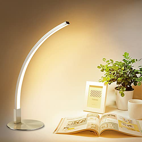 6W Arc Type LED Desk Lamp Eye Caring Table Lamp 3000K Warm White Silver Nickel Finish Simple Reading Lamp for Student Study Office Bedroom Living Room