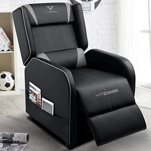 VIT Gaming Recliner Chair Racing Style Single PU Leather Sofa Modern Living Room Recliners Ergonomic Comfortable Home Theater Seating, Grey