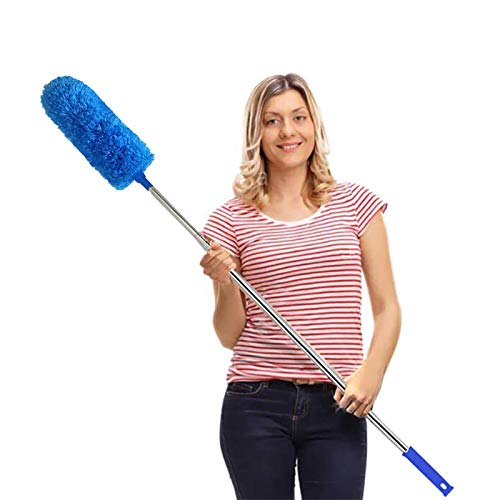 DELUX Microfiber Feather Duster Extendable Cobweb Duster with 100 inches Extra Long Pole, Bendable Head & Scratch-Resistant Hat for Cleaning Ceiling Fan, High Ceiling, Blinds, Furniture & Cars Blue