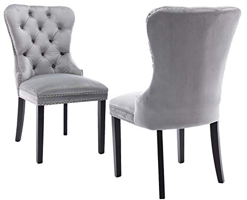 Upholstered Velvet Dining Chairs Set of 2, Victorian Accent Tufted Kitchen Chair with Buttons (Light Grey)