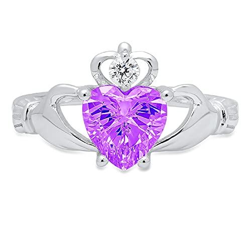 1.52ct Heart Cut Irish Celtic Claddagh Solitaire Natural Purple Amethyst Gem Stone VVS1 Designer Modern Statement Ring 14k White Gold, Size 7 Clara Pucci