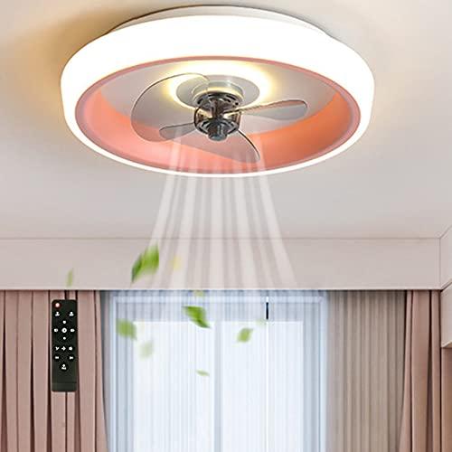 Ventilador de Techo con Luz Delgada Silencioso Mando a Distancia 3 Velocidades Velocidad Del Viento Ajustable Temporizador RegulableInvisible Acrílico Niños Habitación Iluminación Rosa VOMI