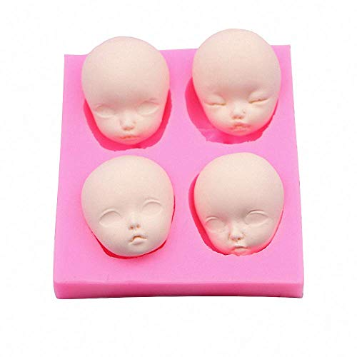 4-Cavity Baby Face Clay Mold BJD SD Human Doll Girl Face Polymer Clay Epoxy Resin Mold Silicone Chocolate Candy Mold Baby Shower Fondant Cake Cupcake Topper Decorating Tool