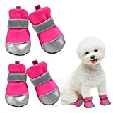 KOESON Breathable Dog Boots, Summer Dog Sneaker Shoes Paw Protector with Anti-Slip Sole, Adjustable Wear-Resistant Dog Booties with Reflective Tape for Small Medium Dogs Hotpink L