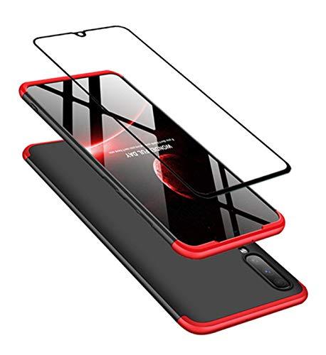 DECHYI kompatibel mit Samsung Galaxy A70 Hülle, handyhülle + panzerglas 360 Grad Schutz Matte PC Hard Cover Körperschutz Kratzfeste Abdeckung 360°Voll Staubschutz case Rot-Schwarz