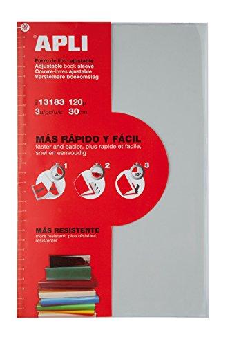 APLI 13182 - Forro de libros con solapa ajustable de PVC. Medida 290 mm, 120 µ. Pack de 3 u.