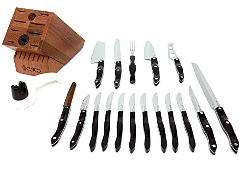 Cutco 19 Pc Kitchen Knife Set Cherry Wood Stand